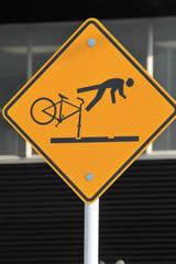 Tram Tracks Bike Warning Sign, Auckland
