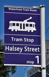Auckland Tram stop Halsey Street sign