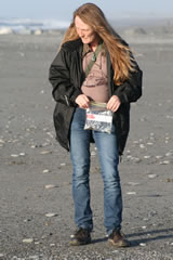 Looking for semi precious stones on the beach at Hokitika