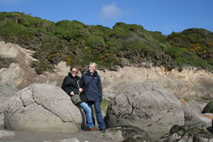 At Moeraki Boulders, South Island, New Zealand