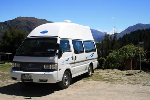 Campervan, Lake Outlet Holiday Park, Lake Wanaka, New Zealand