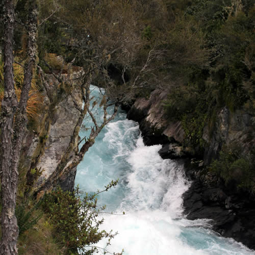 Huka Falls Waikato River entering the narrow ravine