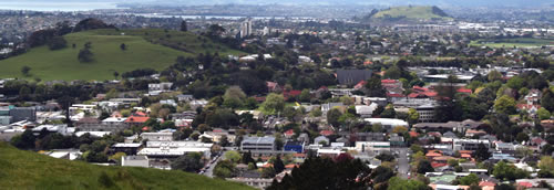 View from Volcanic Cone of Mangere Mountain Auckland New Zealand