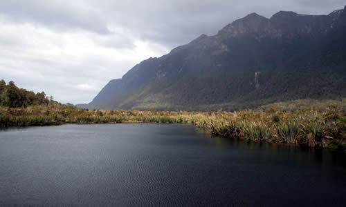 Mirror Lakes on the way to Milford Sound, Fiordland, New Zealand