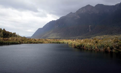 Mirror Lakes on the way to Milford Sound, Fiordland, New Zealand