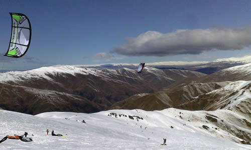 New Zealand Snowkiting in the southern alps, South Island NZ