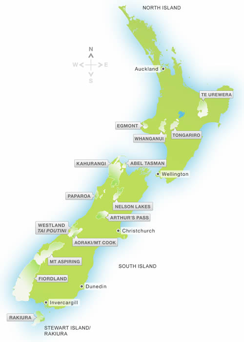 New Zealand National Parks List and Map
