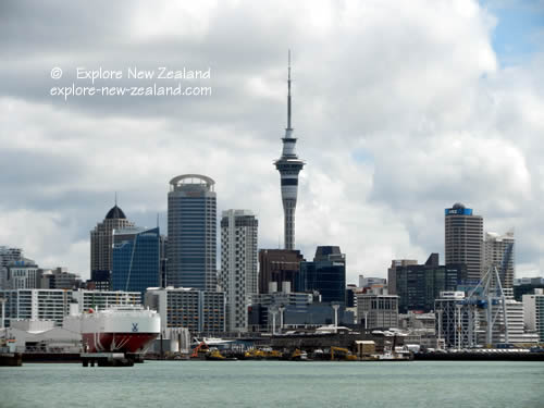 View of Auckland Docks, Ships and Skyline, North Island City