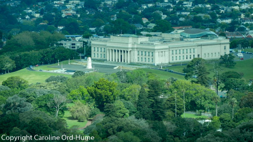 Auckland Museum aerial view from Sky Tower, New Zealand