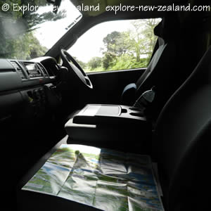 Campervan Drivers Seat and New Zealand Touring Map