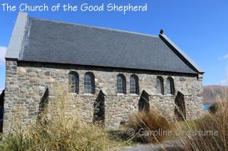 Church of the Good Shepherd side view and cross, Lake Tekapo