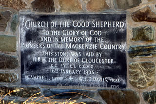 Church of the Good Shepherd stone plaque, Mackenzie Country Pioneers