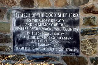 Church of the Good Shepherd stone plaque, Mackenzie Country Pioneers