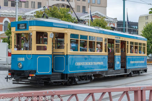 Christchurch Tramways City Tour, Blue and Yellow Tram, South Island, New Zealand