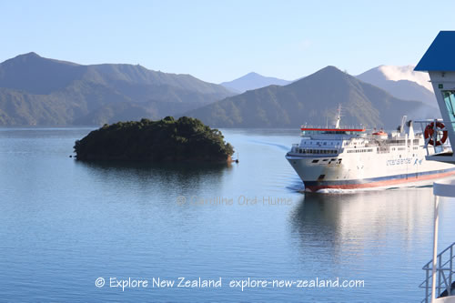 Interislander Ferry Sailing in Marlborough Sounds, South Island, New Zealand