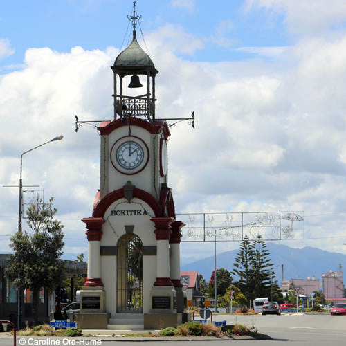 Hokitika Town Clock Tower on Sewell Street, Christmas Day, West Coast, South Island, New Zealand