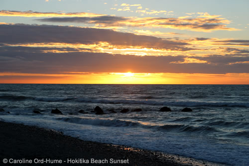 Hokitika Beach Sunset in February, South Island West Coast, New Zealand