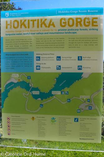 Hokitika Gorge Map and Walk Information Board, NZ South Island