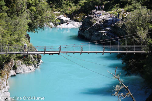 View to Swing Bridge from Viewing Platform on Hokitika Gorge Walk, New Zealand