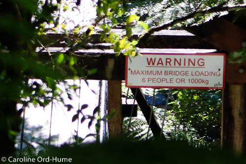 Hokitika Gorge Swing Bridge Weight Warning Sign, West Coast, New Zealand