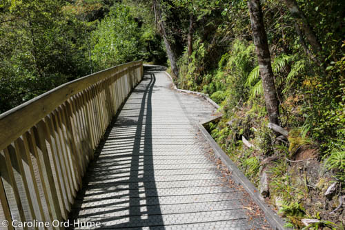 Fenced Boardwalk track on steep side of Hokitika Gorge Walk, West Coast, New Zealand