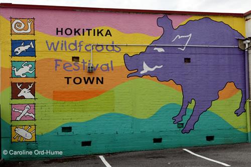 Hokitika Wildfoods Festival Wall Mural Art, West Coast, South Island, New Zealand