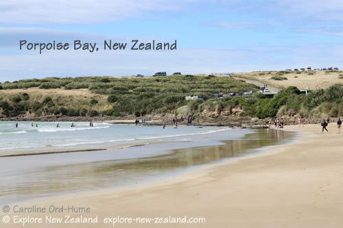 Safe Swimming Beach in Porpoise Bay, Catlins, Southland, New Zealand