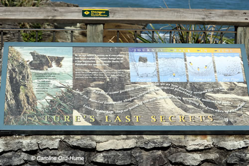 Punakaiki Pancake Rocks information board - Natures Last Secrets of how pancake rocks were formed
