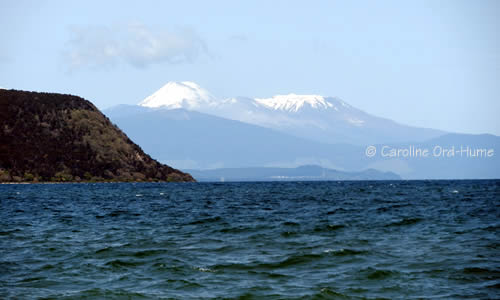 Tongariro National Park Mountains view across Lake Taupo