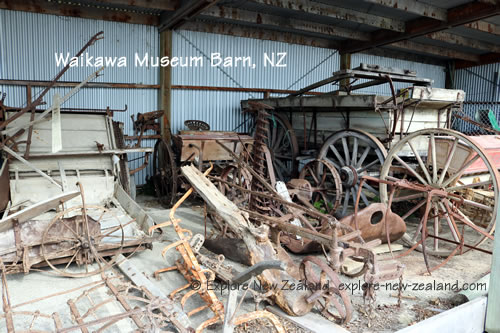 Historic Artefacts in Barn Behind Waikawa Museum New Zealand