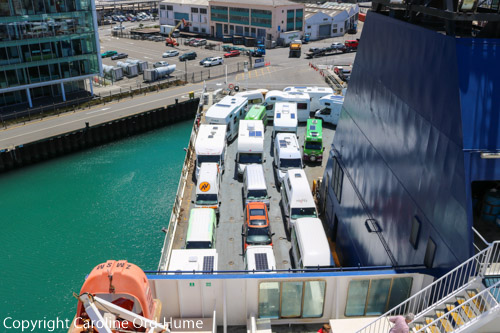 Motorhomes Campervans on Bluebridge Ferry Vehicle Deck Wellington Harbour, North Island, New Zealand