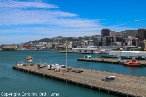 Wellington harbour, quay, waterfront and suberbs on the hills, New Zealand