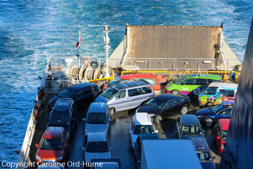 Campervans on a Ferry Crossing the Cook Strait from Wellington to Picton, New Zealand