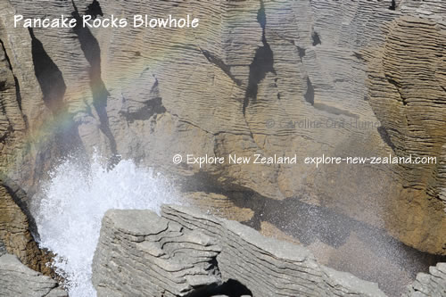 Pancake Rocks Blowhole, Punakaiki, West Coast, South Island, New Zealand