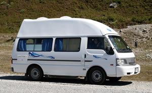 Camper Travel along Haast Pass, South Island, New Zealand