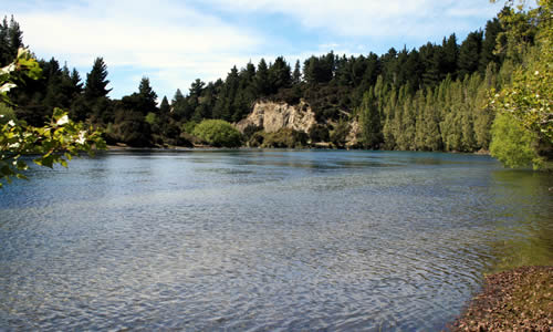 River by Lake Wanaka. South Island, New Zealand