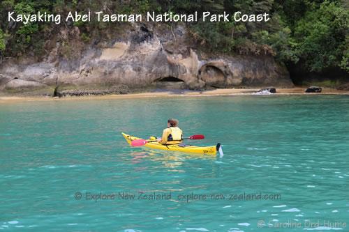 Kayaking along Abel Tasman National Park Coast, Tasman Bay, New Zealand