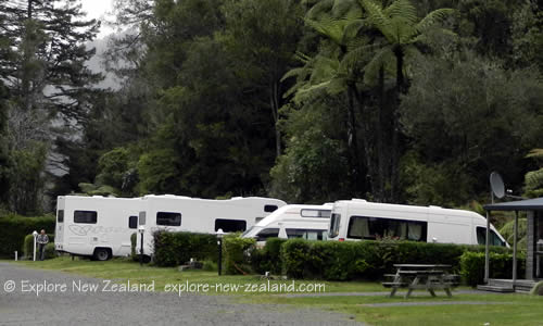Campervans on a Secluded Camping Park in New Zealand