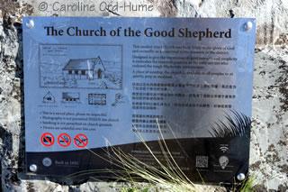 Church of the Good Shepherd information board, Lake Tekapo