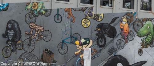 Graffiti Cycles, Street Art on a wall in Christchurch New Zealand, South Island