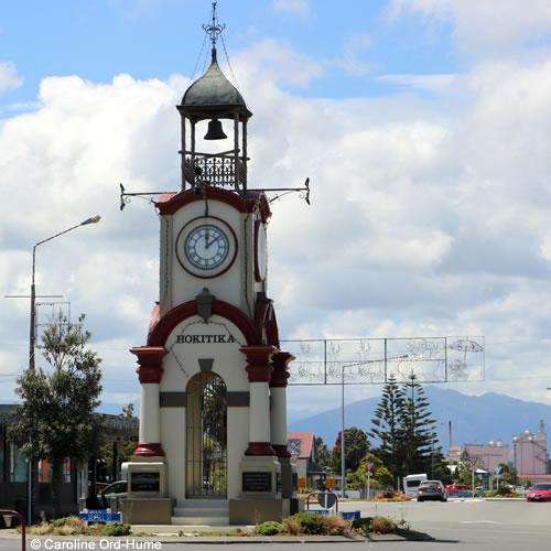 Hokitika Town Clock Tower on Sewell Street, Christmas Day, West Coast, South Island, New Zealand