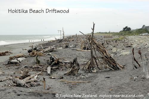 Driftwood on Hokitika Beach, West Coast Town New Zealand