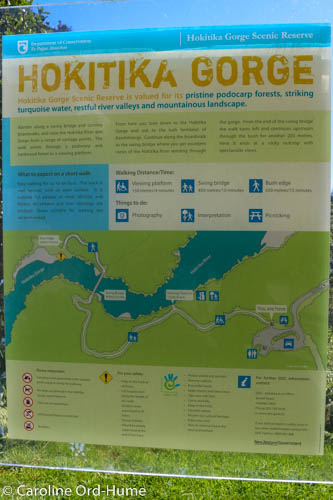 Hokitika Gorge Map and Walk Information Board, NZ South Island