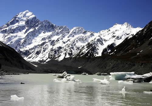 End of the Hooker Valley Track. Hooker Glacier Lake
