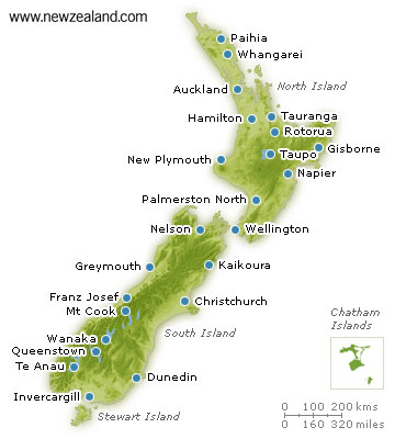 Map of New Zealand showing main cities and towns