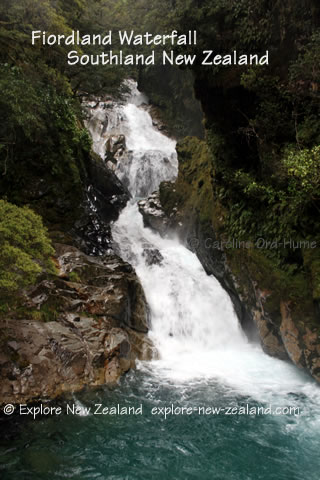 Waterfall in Fiordland, Southland, South Island, New Zealand