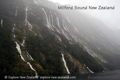 Hundreds of Waterfalls Around Milford Sound in Wet Weather Fiordland, Southland New Zealand